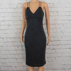 Express navy blue and black midi dress